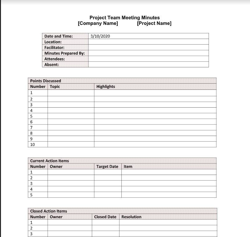 Download a free meeting minute template for Word